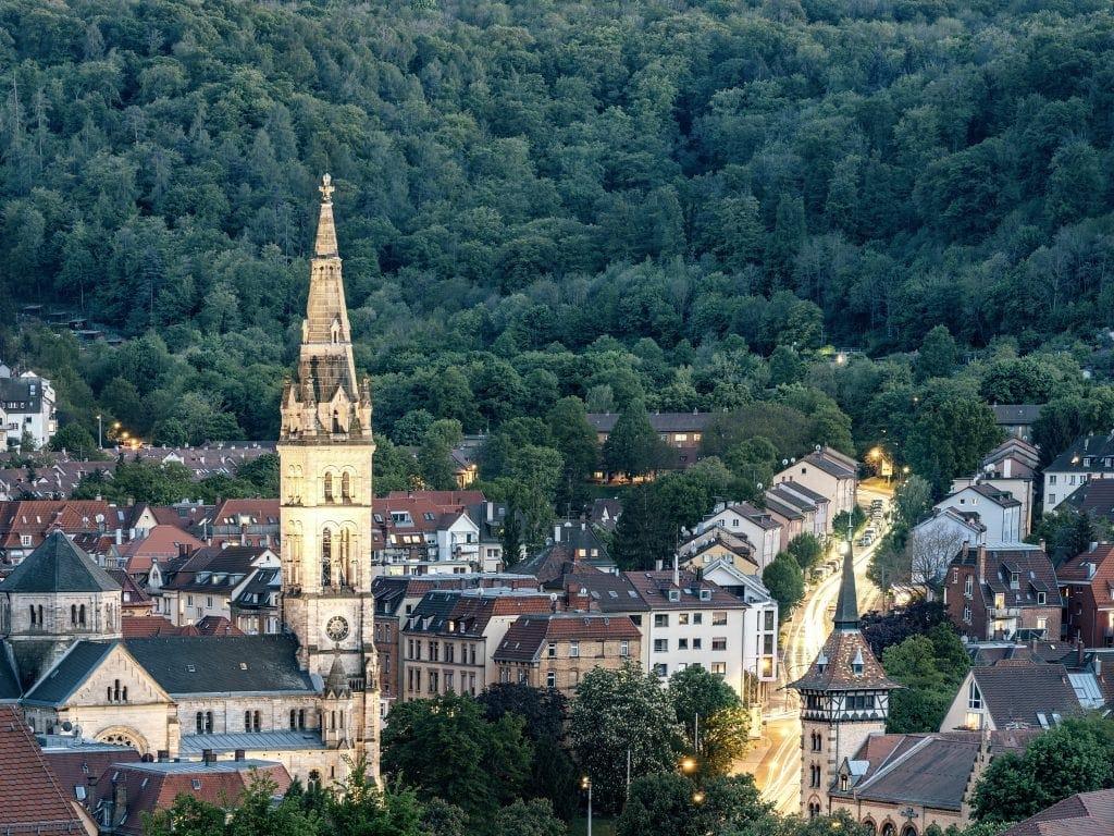 Aussicht in Stuttgart-West auf den Süden